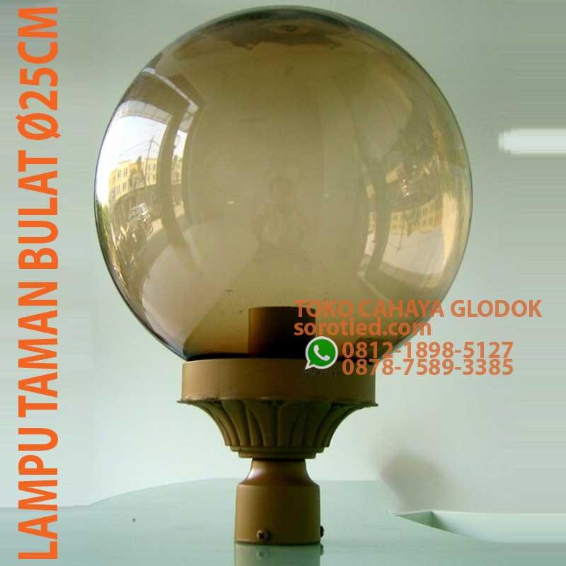 Jual Lampu Taman Bulat Diameter 25cm Coklat Sorotled Com